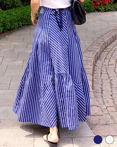 stripe-draping long SK